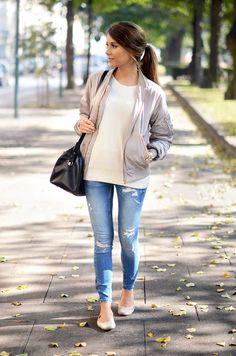 casual: light striped tee + #grey jacket + light jeans + flats