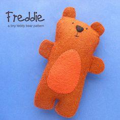 Freddie the Tiny Teddy Bear - He's a teddy bear for dolls and teddy bears. :-) Super easy to make.