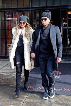 Chrissy Teigen and John Legend in the East Village on Feb. 17, 2015, in New York City.   - Cosmopolitan.com