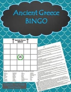 Ancient Greece Bingo This is a bingo game that I created for my middle school social studies students to review key vocabulary at the end of our unit on ancient Greece. Students fill their card with any words from the list and I call out the definition. If they know the definition and have the word on their card, they mark it. They love playing and it's a fun way to reinforce topics/vocabulary from the unit.