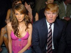 Melania Knauss and Donald Trump during Olympus Fashion Week Spring 2005 Marc Jacobs Front Row at Pier 54 in New York City New York United States