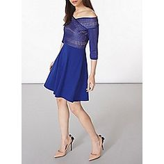 sleeve bardot dress with jersey skirt and lace top with nude lining. Wearing length is approximately Cotton, Elastane.<br /><br />Model is and wears a size Jersey Skirt, Bardot Dress, Debenhams, Cobalt, Lace, Skirts, Sleeves, Model, Cotton