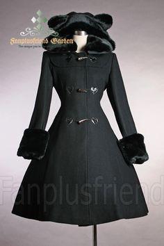 fanplusfriend - Cutie Gothic, Sweet Lolita: Bear Ears Hood Wool Coat, $203.68 (http://www.fanplusfriend.com/cutie-gothic-sweet-lolita-bear-ears-hood-wool-coat/)