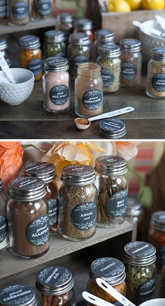 Herb and Spice Jar Labels | DIY Kitchen Storage Ideas for Small Spaces | Click for Tutorial | DIY Kitchen Organization Ideas