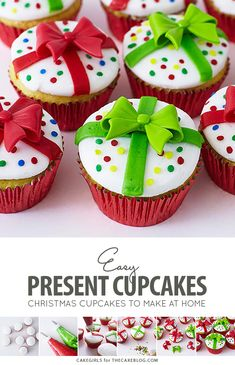 Christmas Present Cupcakes - how to decorate cupcakes to look like a gift box. A quick and easy holiday cupcake perfect for dessert or gift giving. Christmas Snacks, Christmas Goodies, Christmas Baking, Christmas Presents, Christmas Christmas, Christmas Present Cake, Christmas Tree Cupcake Cake, Christmas Cupcake Toppers, Christmas Cakes