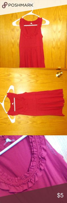 Red tank top Cute tank top with a ruffled edge around the neckline. flowy and perfect for summer. It does have some stretch. Shorts sold seperately Max Rave Tops Tank Tops