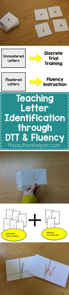 We're walking through a step-by-step process of working on letter identification using both Discrete Trial Training & Fluency Instruction on the blog! Don't miss out on these awesome tips!! From theautismhelper.com #theautismhelper