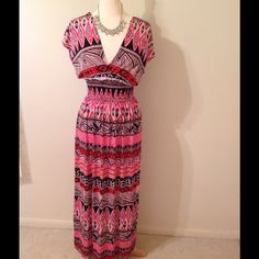 Draped summer maxi! Low v-neck, elastic waist, so will stretch. Draped back looks great! 95%polyester 5% elastase. Tags are attached.  trades! Hueflin Dresses Maxi