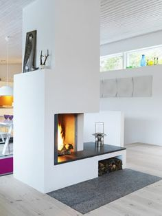 great fireplace to have in the middle of a room