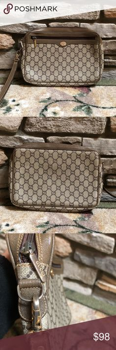 Gucci Plus Clutch Bag Authentic Gucci Plus PRELOVED  Vintage  Clutch Bag  Monogram design  Size L 10-1/2 x H 7 x D 1-3/4 in inches Inside has dry peeling but can still use  There's a zip pocket inside (clean and can be use) Outside is good condition  There's a zipper pocket outside (clean and can be use) All zippers and hardwares are in good condition  Made in Italy Gucci Bags Clutches & Wristlets