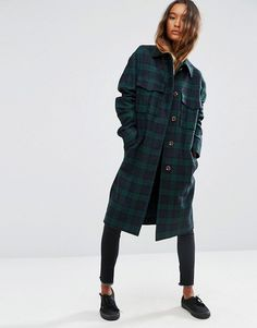 ASOS | ASOS Coat in Check with Utility Styling