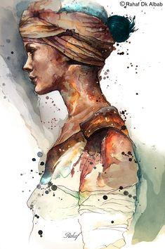 Illustrations by Rahaf Dk Albab   Cuddington #Art #Face