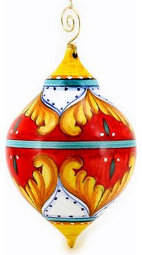 CHRISTMAS ORNAMENT: Red Pia Design - Drop Ball Large mediterranean-holiday-decorations