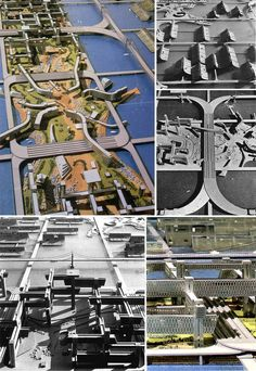 A SINISTRA: PIRAMIDE DI TETRA CITY. A DESTRA: VISIONE DI TRITON CITY. IN BASSO: FACCIATA DI TRITON CITY © Buckminster Fuller Institute
