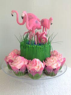 Fabulous Flock of Flamingos Cake... Coolest Birthday Cake Ideas Flamingo Cake, Flamingo Birthday, Flamingo Party, Pink Flamingos, Woodland Fairy Cake, Zoe Cake, Pool Party Cakes, Cool Birthday Cakes, Birthday Ideas