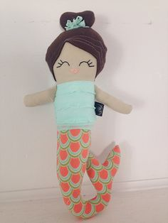 """This is a #handmade doll by #Stapley Dolls. She is surface washable. She has a hand stitched face and is about 20"""" tall. She has brown non-pill fleece hair in a top bun. She ... #dolls #plush #stapley #custom #mermaid #stapleydolls"""