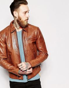 Shop Nudie Leather Jacket Dean Tan Biker at ASOS. Brown Leather Bomber Jacket, Tan Leather Jackets, Leather Jacket Outfits, Nudie Jeans, Stylish Jackets, Mens Tops, Dean, Biker, Leather Jackets