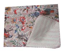 Indian Handmade Kantha Quilt Throw Cotton Bedspread Gudari Reversible Twin size #Handmade #Traditional
