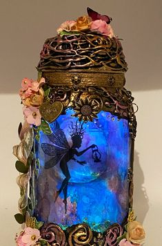 Excited to share this item from my #etsy shop: Handmade silhouette 9 and a half inch beautiful fairy jar . T Lights, String Lights, Fairy Jars, Beautiful Fairies, Color Change, Snow Globes, Bronze, Silhouette, Etsy Shop