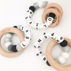 A PERSONALISED Silicone and Wood Name Teether – ONE.CHEW.THREE