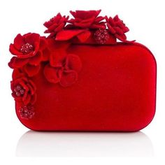 Jimmy Choo Cloud Floral Embellished Hard Clutch ❤ liked on Polyvore featuring bags, handbags, clutches, red clutches, red box clutch, metal purse, embellished handbags and hard clutch
