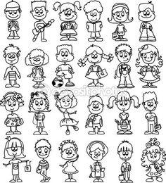 Cartoon drawings of fashionable children - Stock Vector on Depositphotos