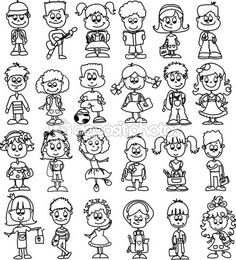 Cartoon drawings of fashionable children - Stock Vector on Depositphotos