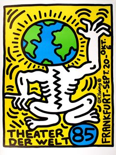 Available for sale from Lot Keith Haring, Keith Haring Theater Der Welt Frankfurt poster 1985 Silkscreen in colors, 44 × 33 in Keith Haring Kids, Keith Haring Poster, Keith Haring Prints, Pop Art Posters, Vintage Posters, Dorm Posters, Band Posters, Frankfurt, Jm Basquiat
