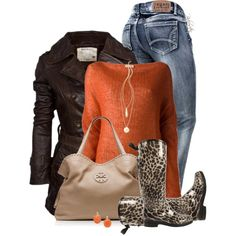 Women's #outfit - Trench coat, sweater, jeans, animal print rain boots, and Tory Burch purse. Cute!