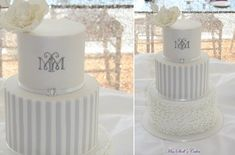 grey striped wedding cake with monogram by Miss Shell's Cakes