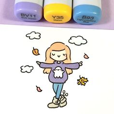 Dreaming of Sweater Weather while all we get is Sweaty Weather ☀️😅💦 Ho. Copic Drawings, Doodle Drawings, Easy Drawings, Doodle Art, Kawaii Doodles, Cute Kawaii Drawings, Cute Doodles, Copic Marker Art, Copic Markers