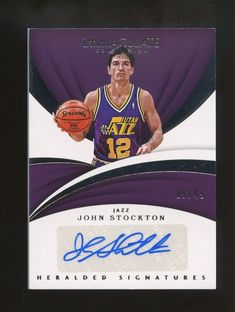 6c7b9ab392e 2017-18 Immaculate Heralded John Stockton HOF AUTO 9/49 Utah Jazz