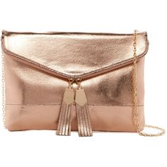 Urban Expressions Brooklyn Vegan Leather Clutch ($30) ❤ liked on Polyvore featuring bags, handbags, clutches, accessories, rose gold, zipper purse, vegan leather purses, vegan handbags, zip purse and tassel purse
