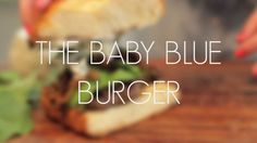 Introducing our baby blue burger - packed with flavor and perfect for a midday BBQ!