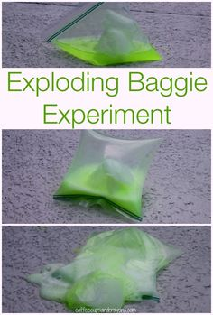 It's fun and easy to do science experiments at home! This exploding baggie science experiment is a twist on the classic baking soda and vinegar reaction. Baking Soda Experiments, At Home Science Experiments, Science Projects For Kids, Science Activities For Kids, Science For Kids, Science Fun, Science Party, Science Ideas, Preschool Activities