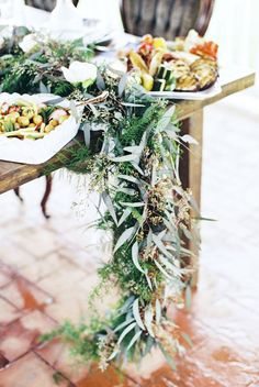 Greenery table runner | Stephanie Yonce Photography and Amore Events by Cody | see more on: burnettsboards.co...