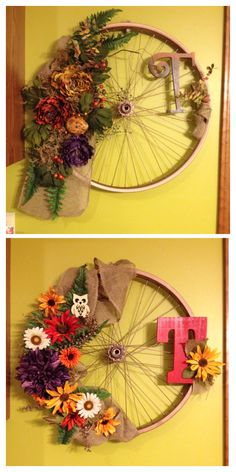 Wreath I made out of a bicycle wheel. Wreath I made out of a bicycle wheel. Bicycle Crafts, Bicycle Decor, Wreath Crafts, Diy Wreath, Wreath Ideas, Fall Crafts, Diy And Crafts, Bicycle Wheel, Bicycle Rims