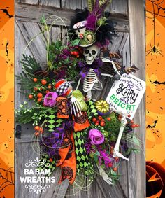 Your place to buy and sell all things handmade Skeleton Wreath, Skeleton Decor, Halloween Wreath, Halloween Decor, Halloween Door Hanging Skeleton Decorations, Halloween Door Decorations, Halloween Signs, Halloween Skeletons, Halloween Skull, Holidays Halloween, Halloween Crafts, Halloween Ideas, Halloween Door Hangers