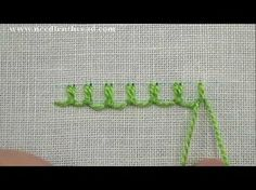 I ❤ embroidery . . . Up & Down Buttonhole Stitch~ The up & down buttonhole stitch is a variation on regular buttonhole or blanket stitch. Up & down buttonhole creates a scalloped-looking line of buttonhole stitches, with two stitches tied together and locked down with a loop.