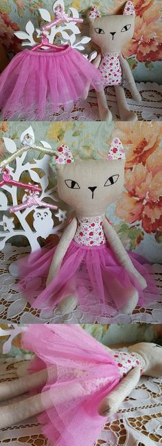 $42.00  Handmade Christmas gift. Cat doll. Stuffed cat toy. Fabric cat doll. Cloth kitten linen doll. Textile toy.