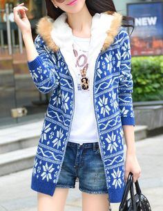 Sweet Women's Hooded Snowflake Pattern Long Sleeve Cardigan