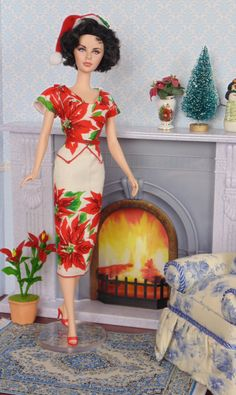 Christmas Poinsettias for Silkstone Barbie by HankieChic on Etsy