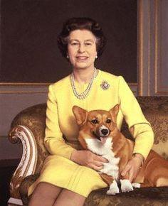 queen of england with royal corgi