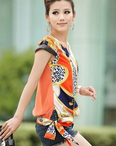 Korean Style Fashion Shells Sleeve Printed Retro Coat Short Sleeve Chiffon Unlined Upper Chiffon Blouse-- Click on the picture to order it>>Shop price:US$7.37---#shoes #wholesale #fashion #lovely #cheap #Korean #dress #sexy #clothes#