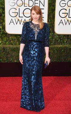 Bryce Dallas Howard at Golden Globes 2016 wearing Jenny Packham