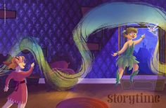 Storytime Issue 11's full wraparound Peter Pan cover - without the pesky words! Art by Christine Knopp (http://kikidoodle.tumblr.com) Magical! ~ STORYTIMEMAGAZINE.COM