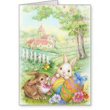 Vintage, nostalgic Easter bunnies Greeting Card