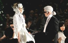 #KarlLagerfeld with Lindsey Wixson in #Chanel couture bridal attire