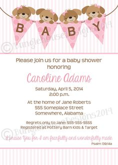 Using the meaning of the name adam formed of earth this puppy baby shower invitation baby girl shower pink puppy banner dog baby shower theme christian scripture invite diy printable stopboris Images