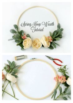 Bring the sights of spring indoors with a stunning hoop wreath! If you've ever felt intimidated by wreath making you've come to the right place. Felt Flower Wreaths, Felt Wreath, Diy Wreath, Felt Flowers, Diy Flowers, Wreath Making, Floral Wreaths, Tulle Wreath, Burlap Wreaths